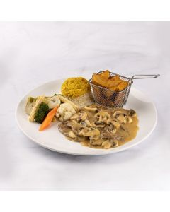 Meat Cutlets Topped with Mushroom Sauce